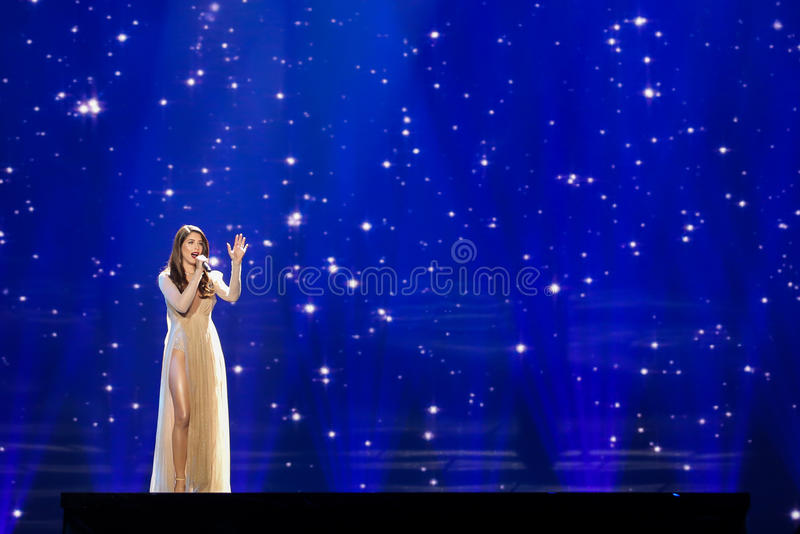 Artsvik from Armenia at the Eurovision Song Contest royalty free stock photos