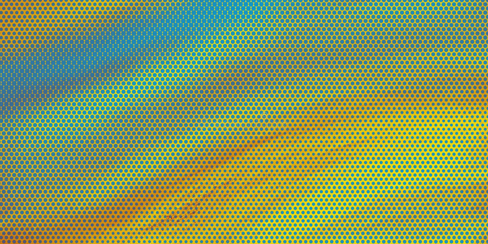 Artsy background design with blue and yellow pop art halftone pattern effect with flowing texture and colors of blue green yellow vector illustration