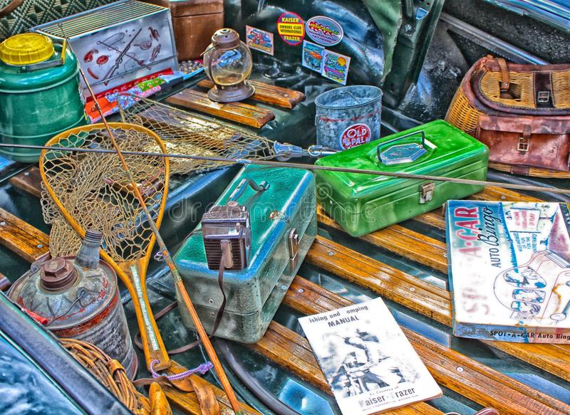 Fishing supplies artsy rendition. Artsy colorful display of fishing supplies in the back of a flatbed stock images