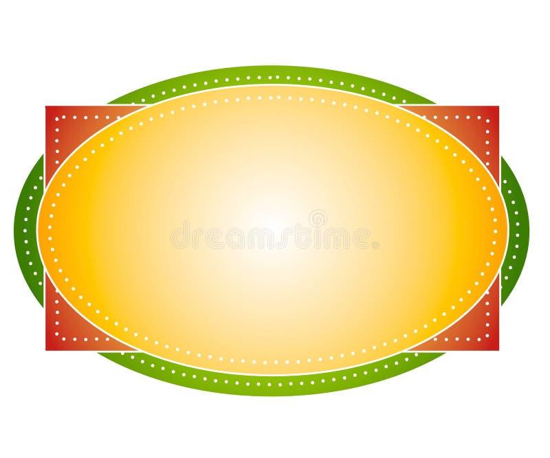Artsy färbt ovalen Zeichen-Kennsatz vektor abbildung