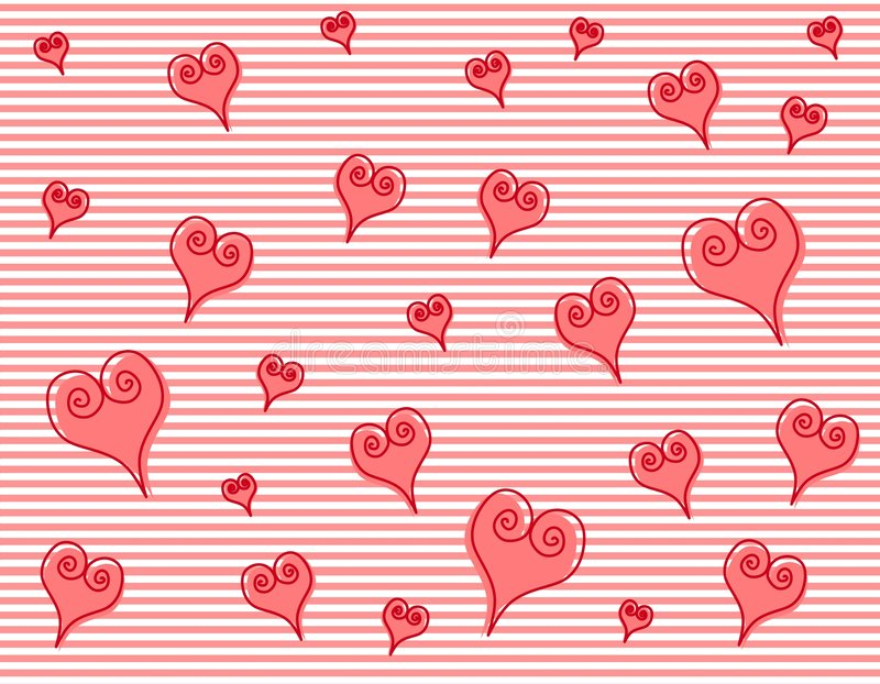 Download Artsy Pink Swirl Hearts Stripes Background Stock Illustration - Image: 3934745