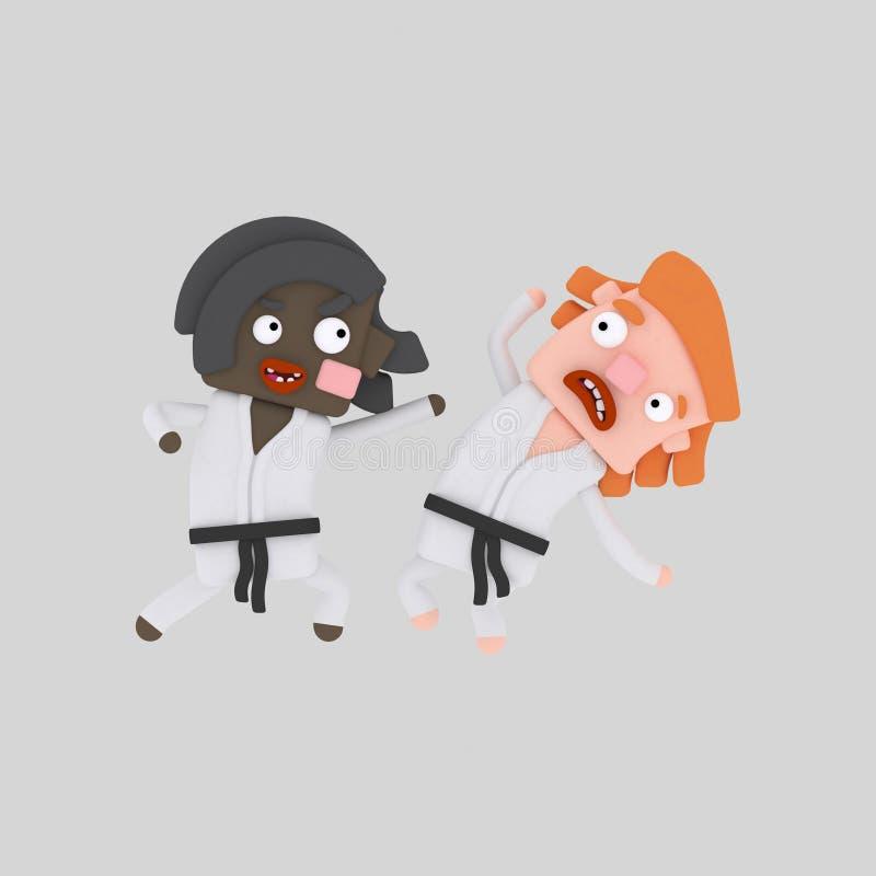 Żartuje ćwiczy karate 3D ilustracji