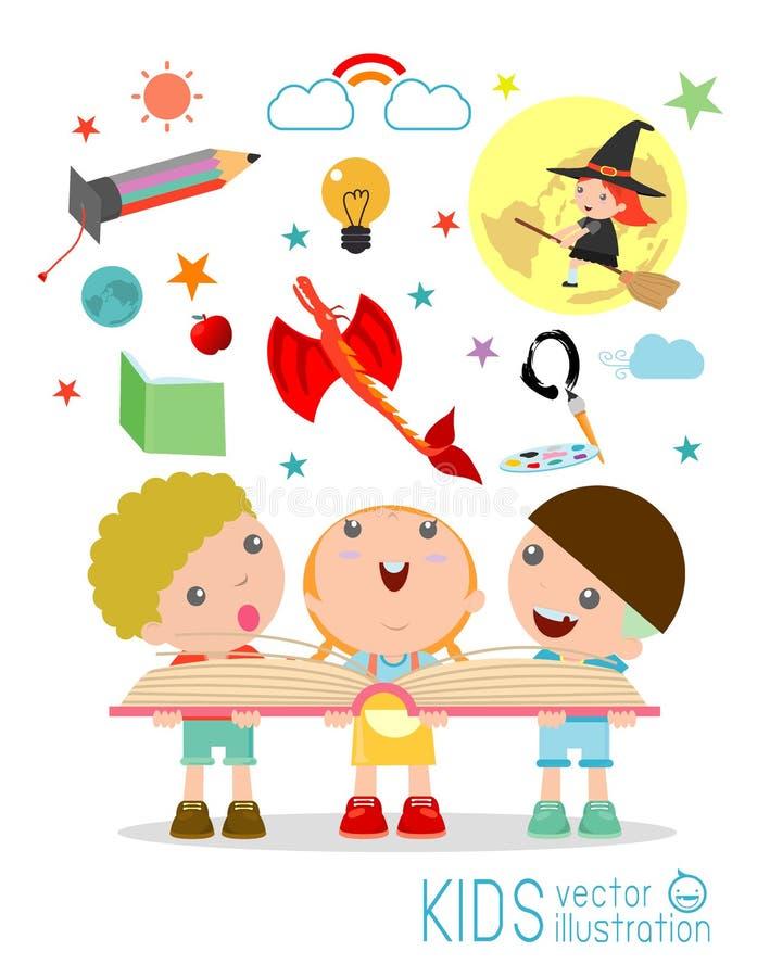 Żartuje czytelniczą książkę z wyobraźnią lata out, dzieci czytać ilustracji