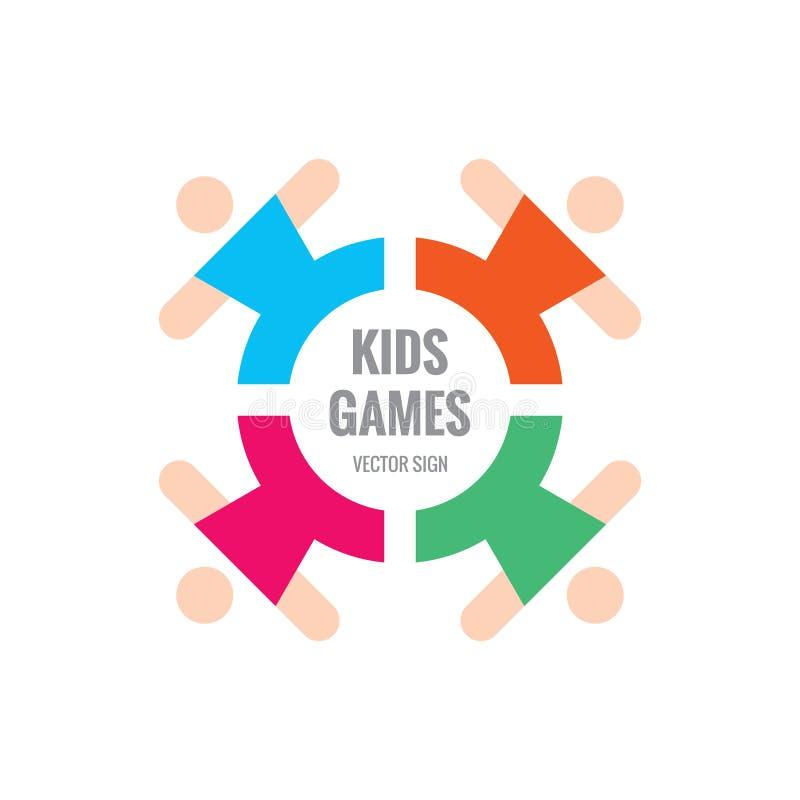 Żartuje gry - wektorowa loga szablonu pojęcia ilustracja Społeczności przyjaźni zjednoczenia dzieci elementy projektu podobieństw ilustracji