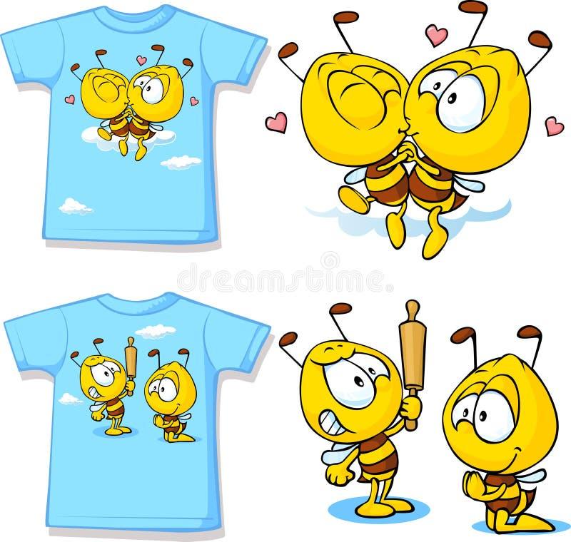 Żartuje koszula z ślicznymi pszczołami - odizolowywać na bielu ilustracji
