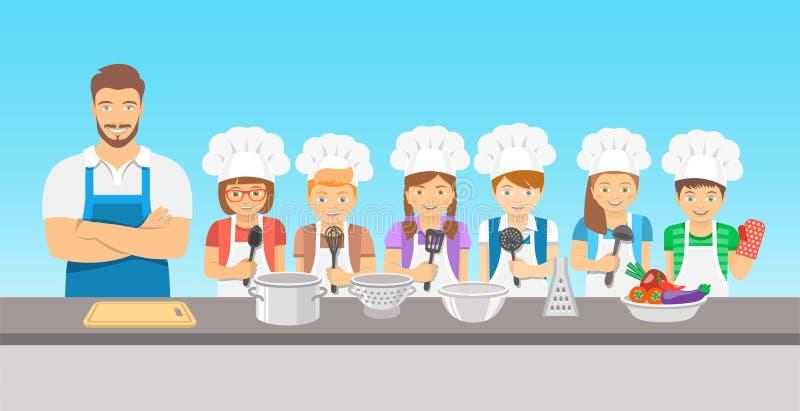 Żartuje kulinarnej klasy mieszkania ilustrację royalty ilustracja