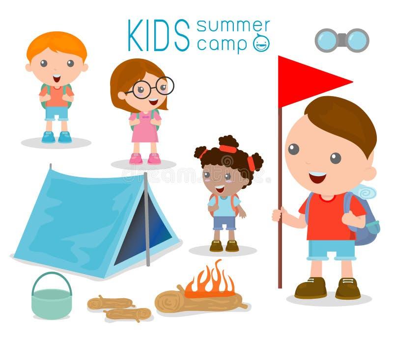 Żartuje obóz letniego, dzieciaki na Campingowej wycieczce ilustracji