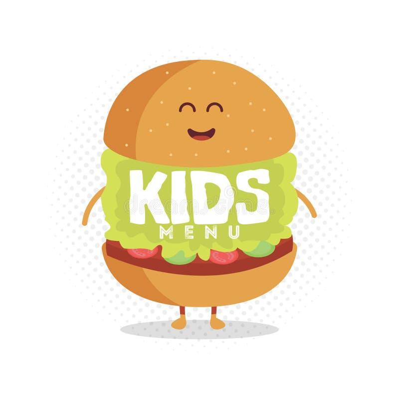 Żartuje restauracyjnego menu kartonu charakteru Śmieszny śliczny hamburger rysujący z uśmiechem, oczami i rękami, royalty ilustracja