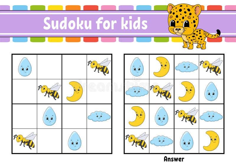 ?artuje sudoku Edukacji rozwija worksheet Aktywno?ci strona z obrazkami ?amig??wki gra dla dzieci Logicznego g??wkowania szkoleni ilustracja wektor