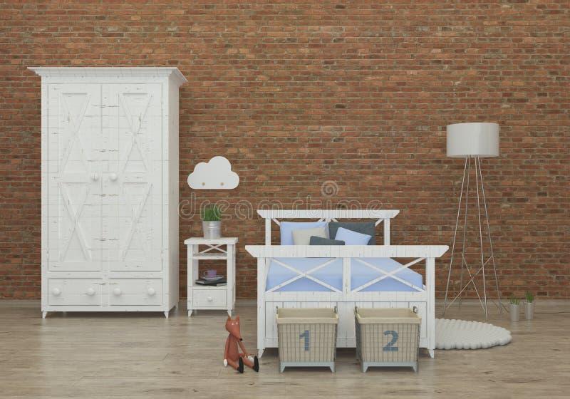 Żartuje sypialnia 3d renderingu wewnętrznego wizerunek royalty ilustracja