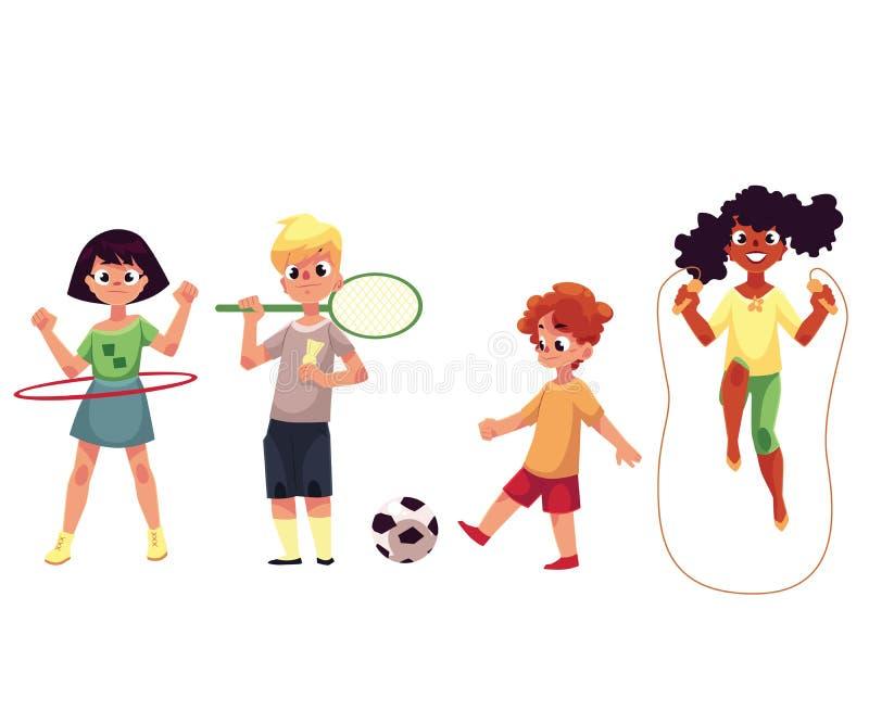 Żartuje twirling hula obręcz, bawić się badminton, piłka nożna, skacze nad arkaną royalty ilustracja
