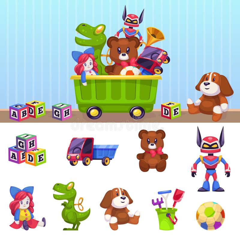 ?artuje zabawki pude?ko Dzieci bawją się zbiornika z bawić się bloków samochodów dom i piwo odizolowywającego wektorowego kresków royalty ilustracja