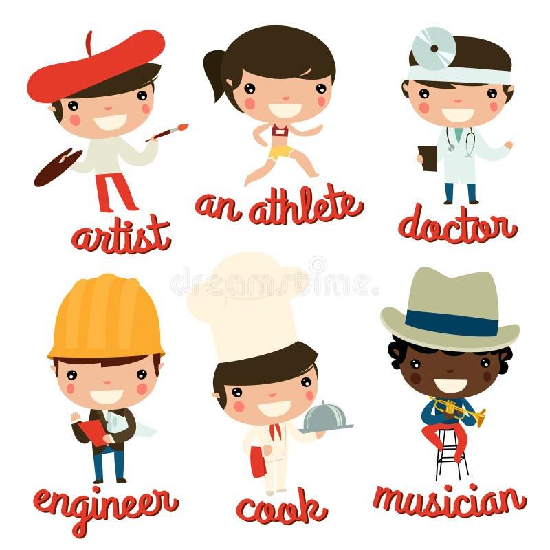 Żartuje zawody artysta, atleta, lekarka, inżynier, kucharz, muzyk ilustracja wektor