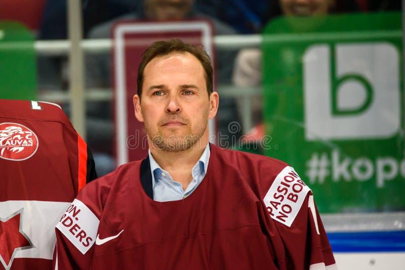 Arturs Irbe, легендарный вратарь хоккея стоковые изображения