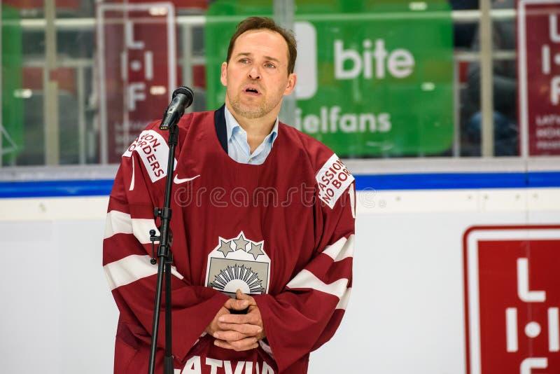 Arturs Irbe, легендарный латышский вратарь хоккея стоковое фото