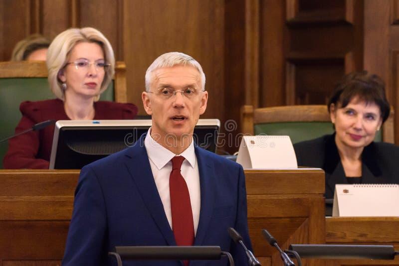 Arturs Krisjanis Karins, candidato per il Primo Ministro della Lettonia durante il voto della coalizione nuova del governo della  immagine stock libera da diritti