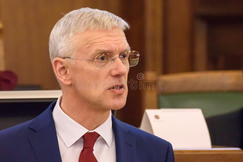 Arturs Krisjanis Karins, candidato per il Primo Ministro della Lettonia durante il voto della coalizione nuova del governo della  fotografie stock