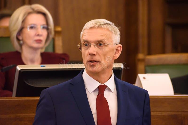 Arturs Krisjanis Karins, candidato per il Primo Ministro della Lettonia durante il voto della coalizione nuova del governo della  fotografia stock libera da diritti