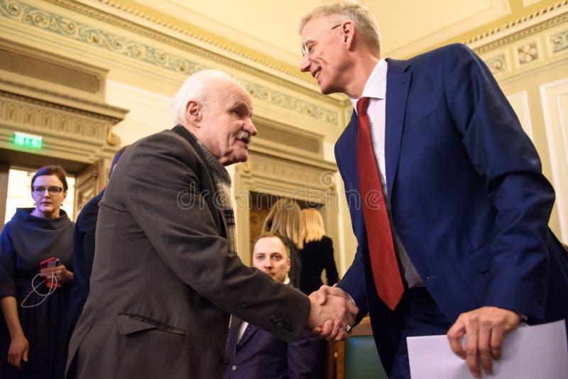 Arturs Krisjanis Karins, kandidaat voor Eerste minister van Letland tijdens stemming van nieuwe coalitie van regering van Letland royalty-vrije stock foto