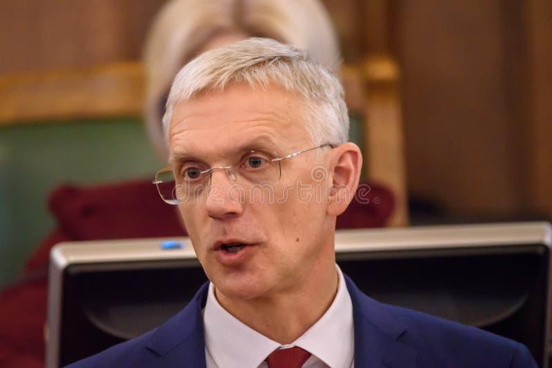 Arturs Krisjanis Karins, kandidaat voor Eerste minister van Letland tijdens stemming van nieuwe coalitie van regering van Letland royalty-vrije stock afbeelding