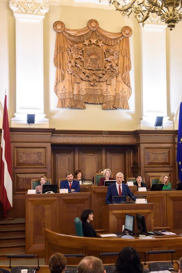 Arturs Krisjanis Karins, kandidaat voor Eerste minister van Letland tijdens stemming van nieuwe coalitie van regering van Letland stock foto's