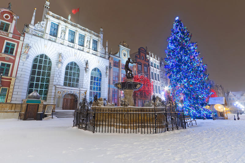 Artus Court In Winter Scenery With Christmas Tree Stock Image