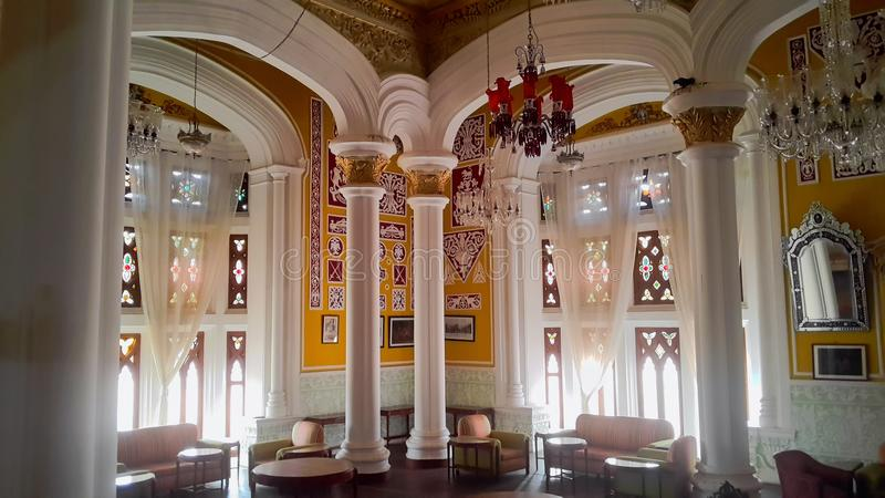 Artwork at Banglaore Palace, Bengaluru, India. BENGALURU, INDIA - FEBRUARY 20, 2017: Interior decoration of famous Bangalore Palace. It was private residence of royalty free stock photos