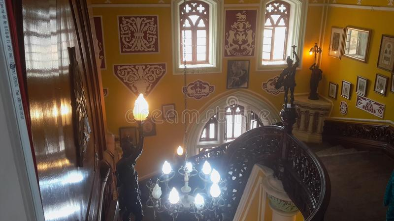 Artwork at Banglaore Palace, Bengaluru, India. BENGALURU, INDIA - FEBRUARY 20, 2017: Interior decoration of famous Bangalore Palace. It was private residence of stock image