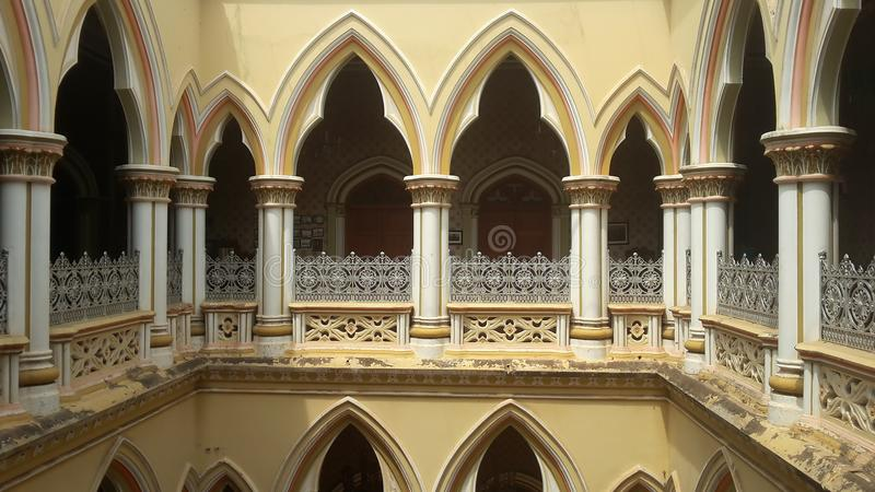 Artwork at Banglaore Palace, Bengaluru, India. BENGALURU, INDIA - FEBRUARY 20, 2017: Interior decoration of famous Bangalore Palace. It was private residence of royalty free stock images