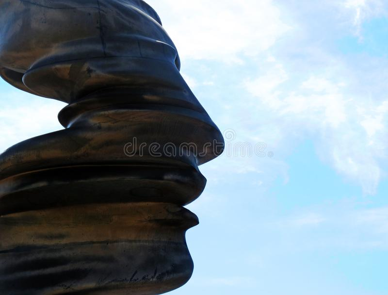 Artwork depicting a face in metal stock photography