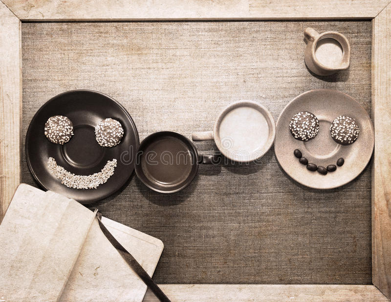 Artwork in grunge style, breakfast royalty free stock photo