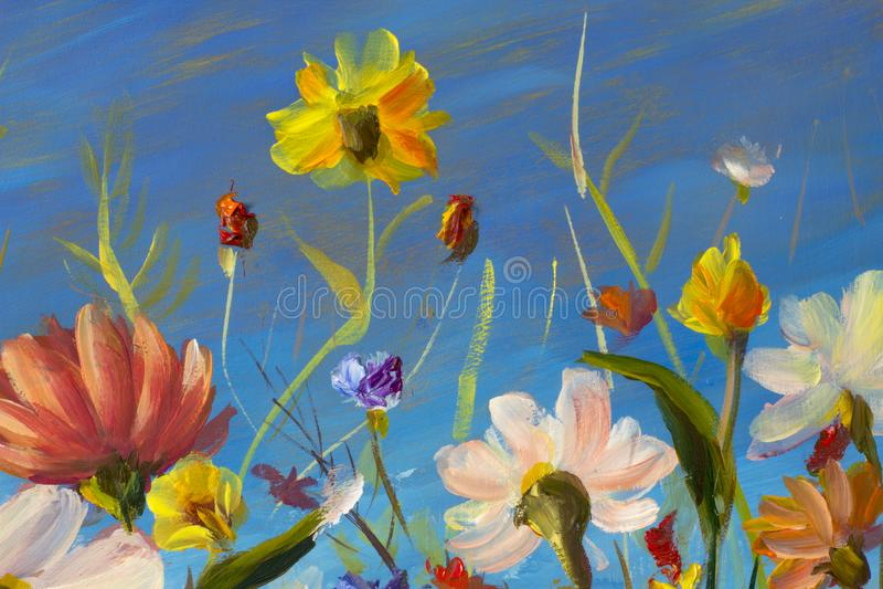 Red, yellow, blue, purple abstract flowers illustration. Macro impasto painting. Palette knife artwork. Impressionism. Art. stock illustration