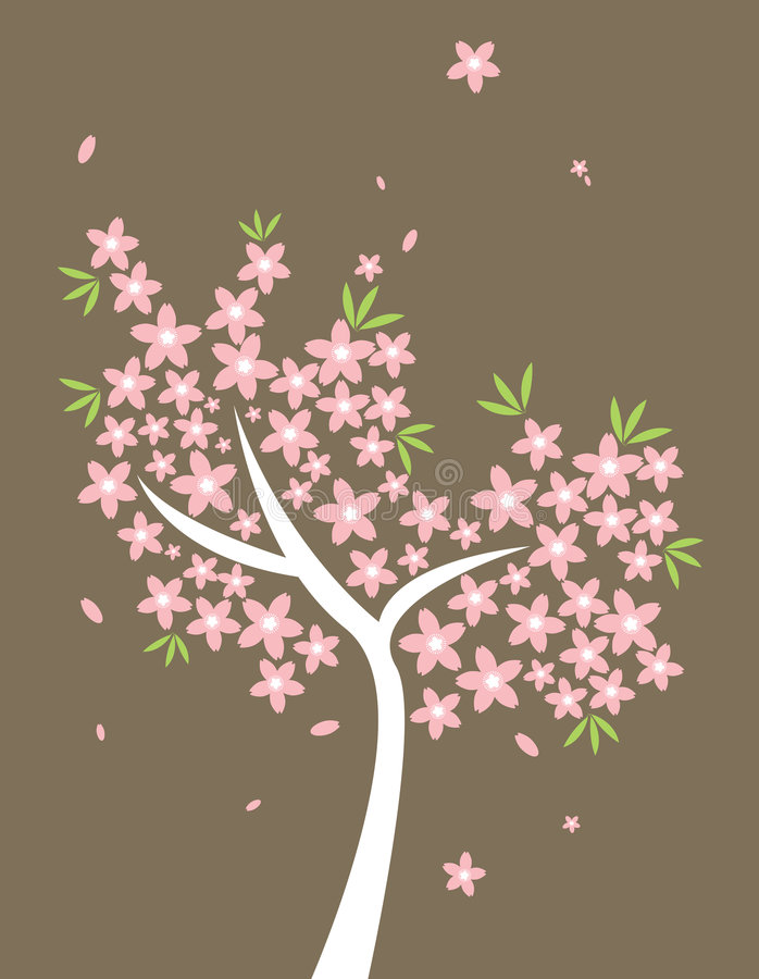Artwork inspired by cherry blossoms in full bloom royalty free illustration