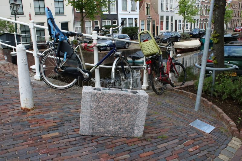 Artwork Luggage memorial by Ram Katzir, Leiden. One of six stone cases that are scattered around Leiden in the Netherlands as a memorial to the Jews of Leiden stock images