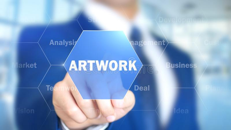 Artwork, Man Working on Holographic Interface, Visual Screen stock photo