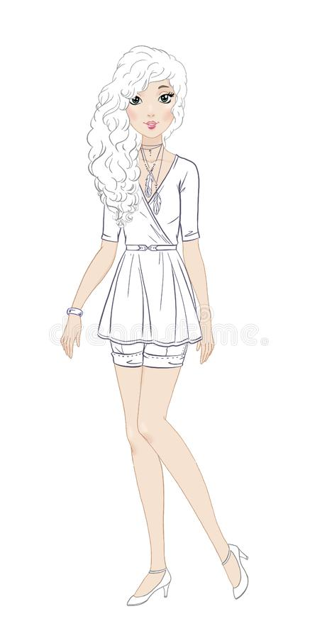 Fashionable Teen Girl In Beautiful Casual Outfit Coloring Page Stock  Illustration - Illustration Of Clothing, Belt: 103884193
