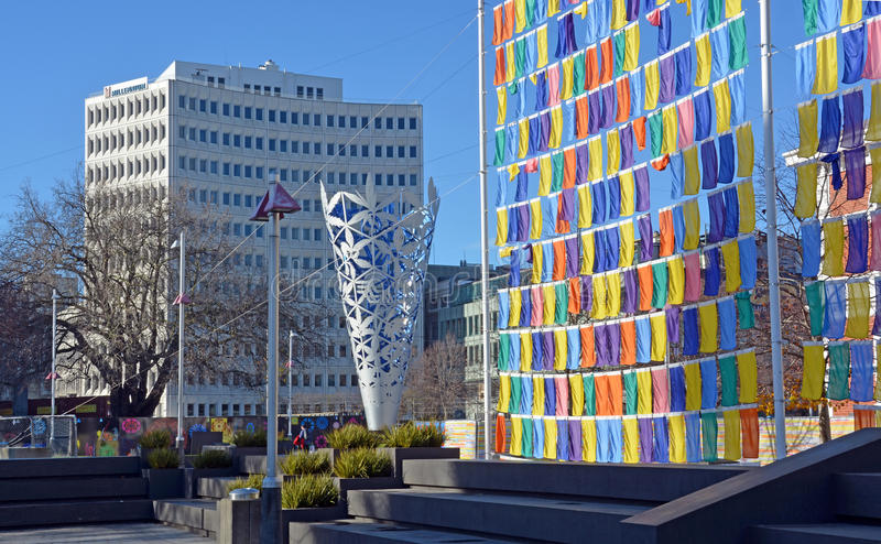 Artworks in Cathedral Square, Christchurch. stock photography
