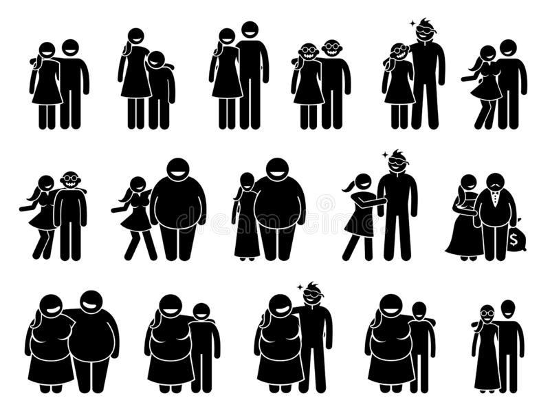 Couple with different body sizes and physical appearance combo. vector illustration