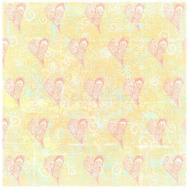 Arty-Herz gestempelter getragener gefalteter Schmutz-Papier-Hintergrund vektor abbildung