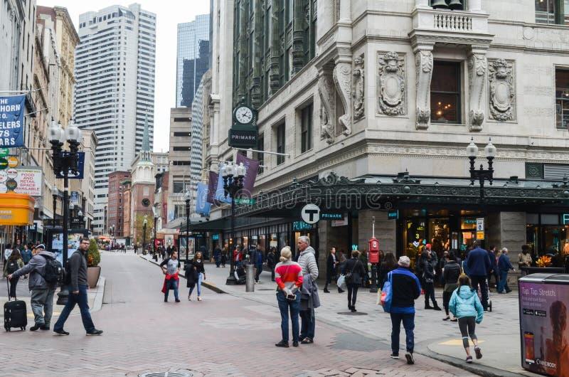 Artykuł wstępny: Boston Massachusetts, usa,/, 5th 2017 Listopad W centrum Boston Chinatown fotografia royalty free