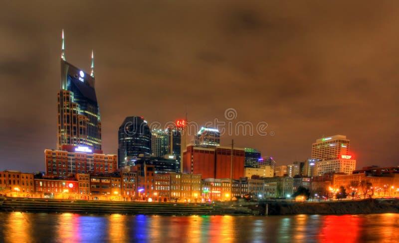 Artykuł wstępny, przy noc Nashville Linia horyzontu fotografia royalty free