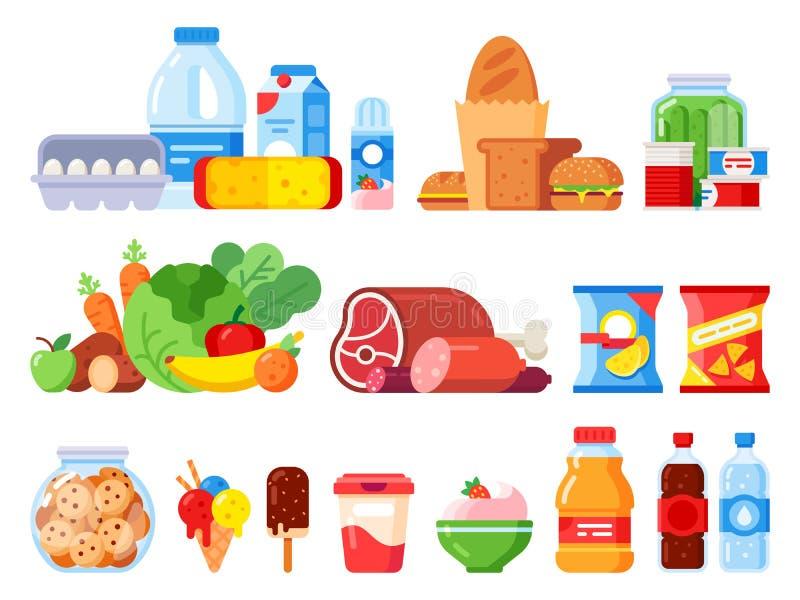 Artykuły żywnościowy Upakowany kulinarny produkt, supermarketów towary i konserwować jedzenie, Ciastko słój, batożąca śmietanka i royalty ilustracja