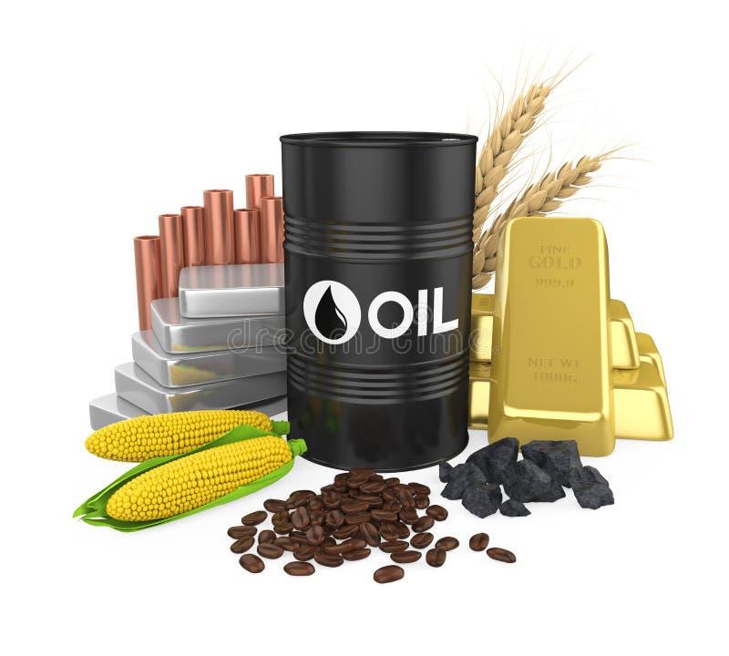 Artykuły olej, złoto, srebro, groszak, kukurudza, węgiel, banatka i Kawowe fasole -, fotografia stock