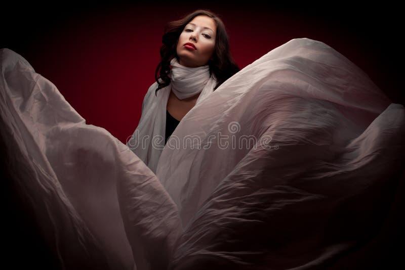 Artyporträt des schönen Brunette mit fliegendem weißem Schal lizenzfreies stockfoto
