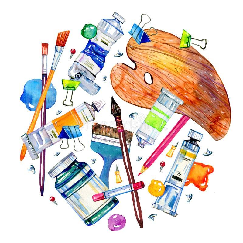 Artystów materiały w round składzie - paleta, paintbrushes, kolor dostrzega tubki R?ka rysuj?ca nakre?lenie akwareli ilustracja ilustracja wektor