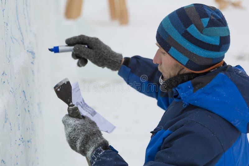 Artystów remisy na lodowym bloku obrazy royalty free