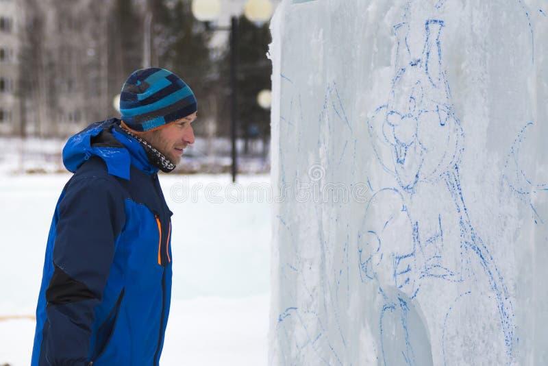 Artystów remisy na lodowym bloku zdjęcie royalty free