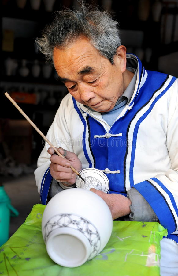 artysta ceramiczny jingdezhen starego obraz obrazy stock
