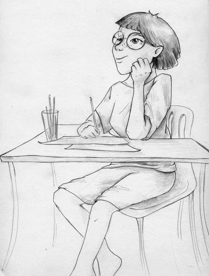 Artysta dziewczyny czekanie dla inspiraci ilustracja wektor