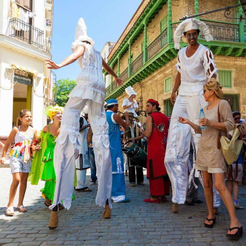 artysta estradowy Havana stara spełniania ulica fotografia royalty free